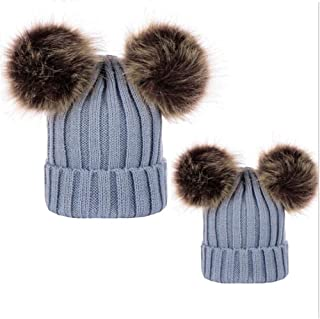 DAYOLY 2PCS Baby Boys/Girls Knit Cap, Soft Touch Knitting Hat Family Beanie Ski Cap with Double Pom-Pom Hat - Parent-Child Hat Warmer, Red/White