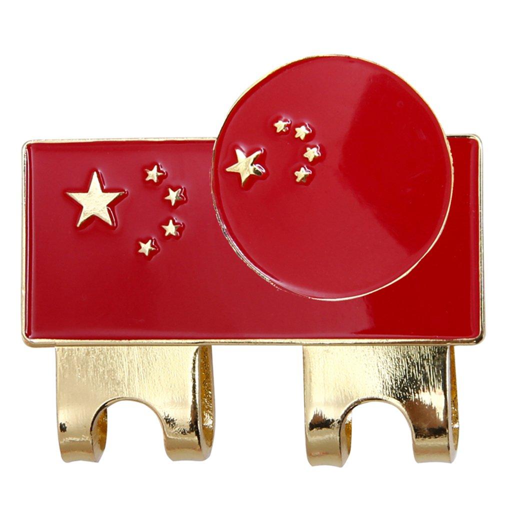 Onpiece 中国国旗 ゴルフキャップ クリップ ボールマーカー 磁気帽子クリップ付き   B07FDR5GTK