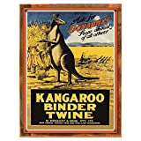 Wood-Framed Kangaroo Binder Twine Metal Sign: Travel Decor Wall Accent for kitchen on reclaimed, rustic wood