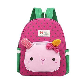 Mochila para niñas - Saihui bonito dibujos animados conejo animales guardería guardería infantil libro mochilas bebé niñas escuela bolsas hot pink: ...