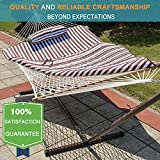 Lazy Daze Hammocks 12 Feet Steel Stand with Rope Hammock Combo, Quilted Polyester Pad and Pillow (Brown/White Stripe) For Sale