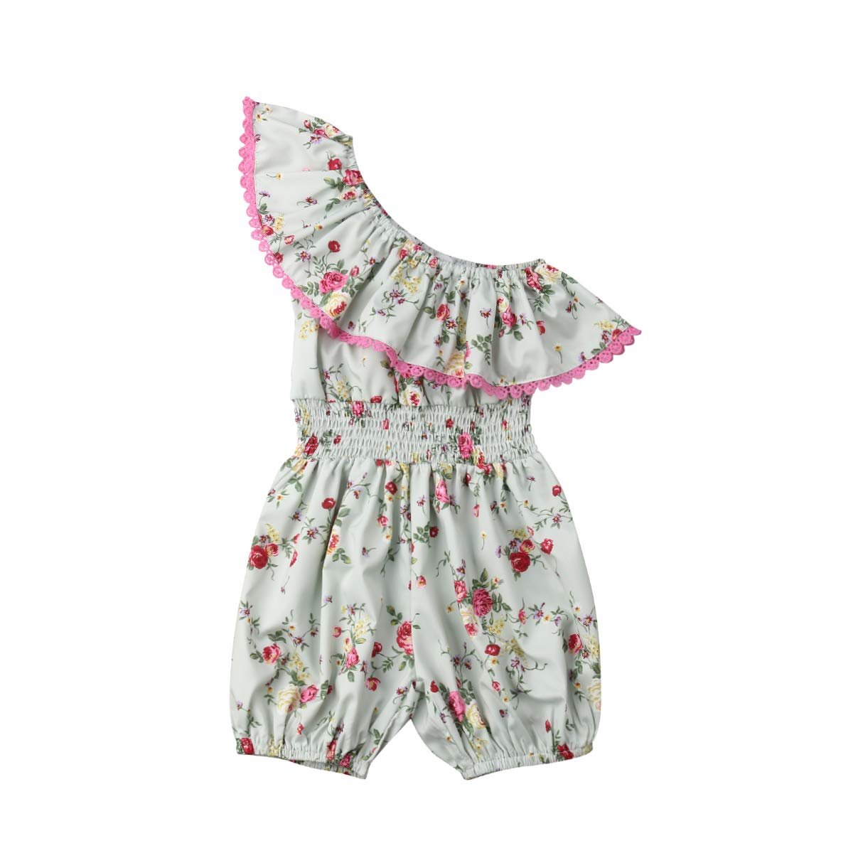 UK Toddler Kids Baby Girls Summer Clothes Flower Ruffle Romper Jumpsuit Outfits