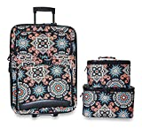 Ever Moda 3-Piece Carry On Luggage Set with Wheels for Travels, Black Indian Mosaic