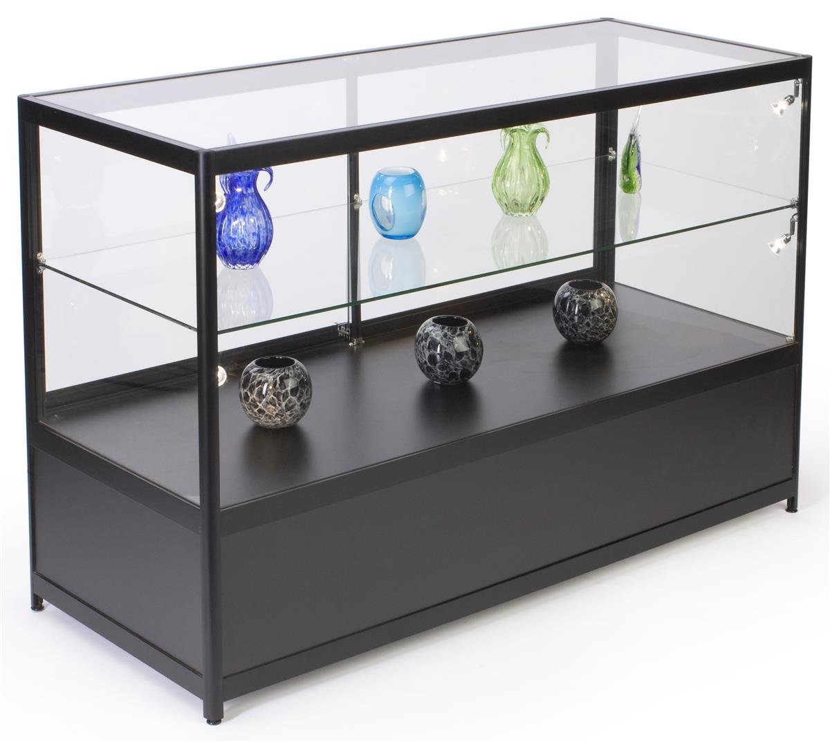 Displays2go 60'' Glass Showcase, Hidden Storage, LED Lights, Lockable Sliding Door - Black (IAPHV60LED)