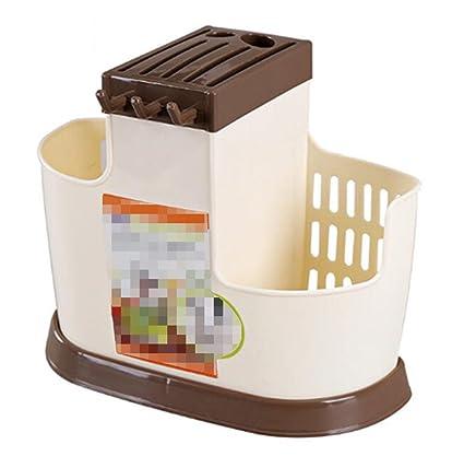DECJ Cocina Estante Multifuncional Cubertería Rack Drenaje Palillos Rack Creativa Plástico Vajilla Almacenamiento Rack,Beige