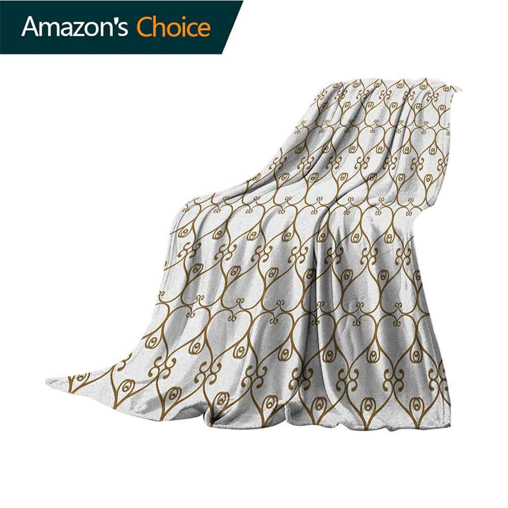 Abstract Ultra Soft Flannel Blanket,Traditional Swirled Damask Victorian Influences with Modern Oriental Details Microfiber All Season Blanket for Bed or Couch Multicolor,60'' Wx70 L Chocolate White