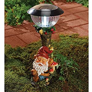 Bits and Pieces - Sleepy Gnome Solar Light - Add Whimsy and Magic to Your Walkway with Our Gnome Path Lights - Hand Painted Resin and Plastic Pathlights.