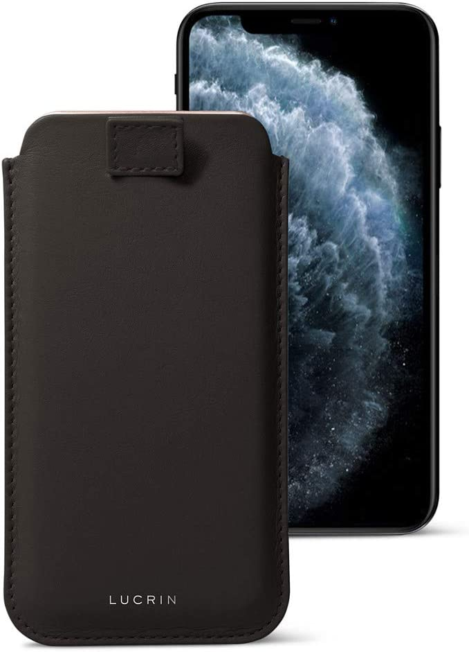 B00NXP2ZSE Lucrin - Pull-Up Strap Case Sleeve Cover Compatible with iPhone 11 Pro Max/XS Max/ 8 Plus and Wireless Charging - Dark Brown - Genuine Leather 61XM6V2BQ2ZL