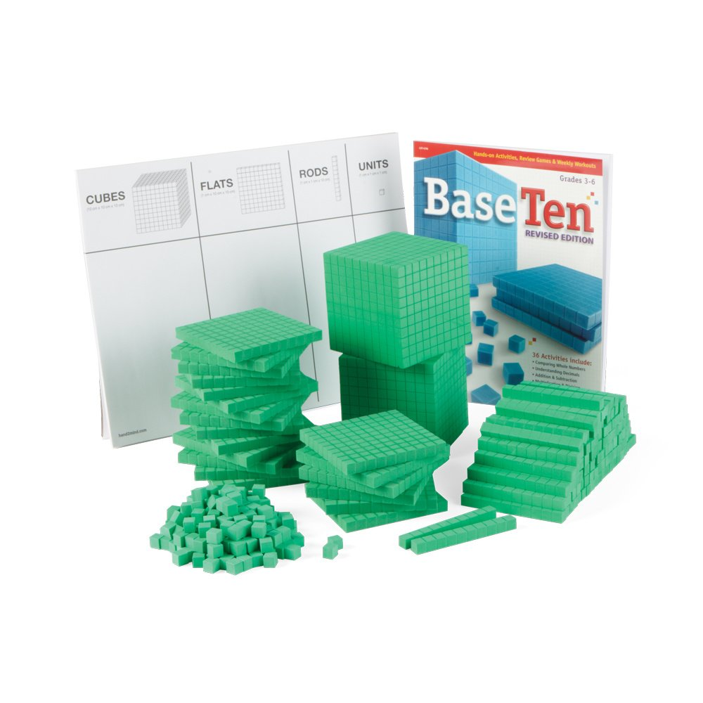 hand2mind Green, Foam, Base Ten Blocks for Place Value Math (Set of 322)
