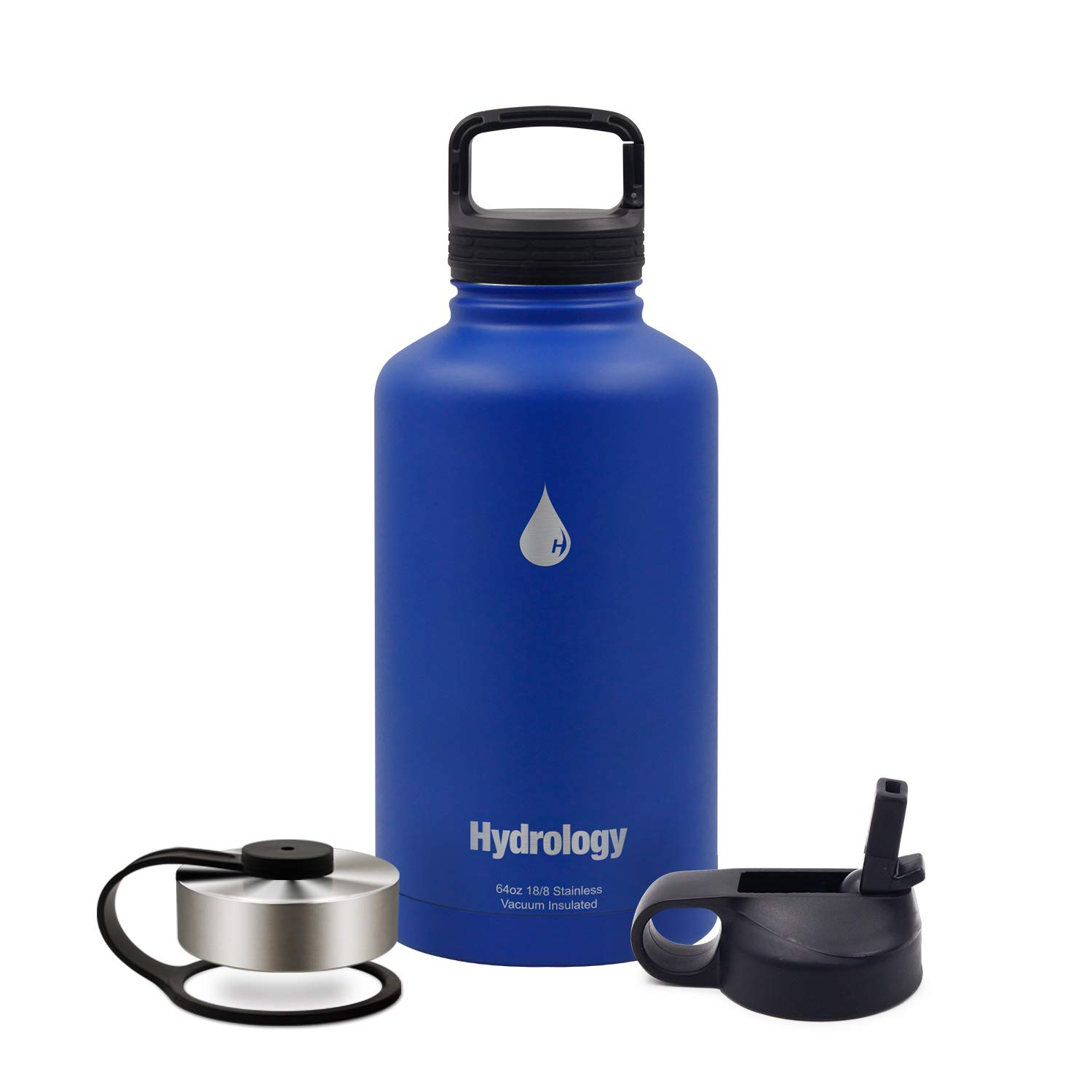 Hydrology with 3 LIDS Double Wall Vacuum Insulated Stainless Steel Water Bottle Flask Growler - Keeps Cold and HOT (Cool Blue, 64 oz)