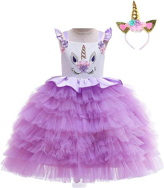 TBATM Vestido de Princesa de Tul para niña con diseño de Unicornio ...