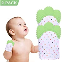 2 Pack Teething Mitten Baby Glove Teether Toys Silicone Soothing Pain Relief for Infant Boys & Girls for 0-6 Months Baby