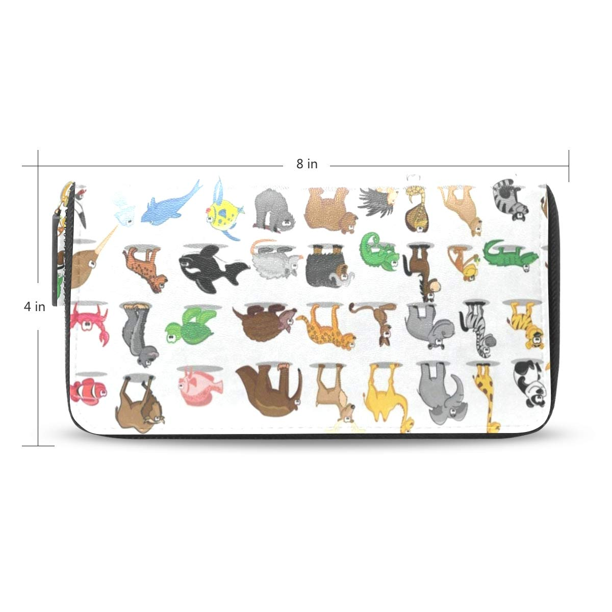 Womens Wallets Cute Kids Animal World Maps Leather Passport Wallet Change Purse Zip Handbags