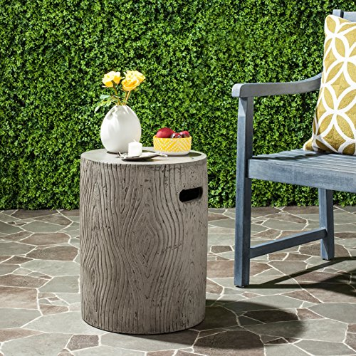 Safavieh Outdoor Collection Trunk Modern Concrete Dark Grey Round 16.5-inch Accent Table