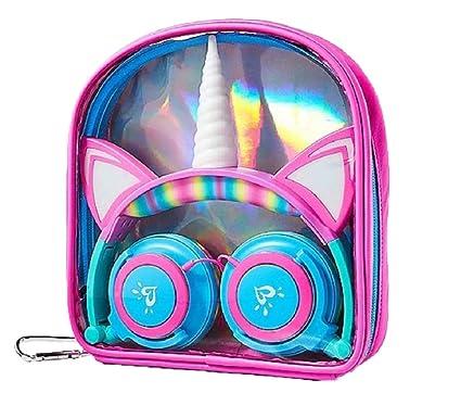 ee6ae3d9cb7ef Light-Up LED Rainbow Unicorn Headphones