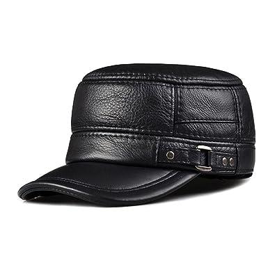 6850e44dc8c lethmik Vintage Military Hats Cadet Hat Army Hats Style Genuine Leather  Camo Hats Black-XXL
