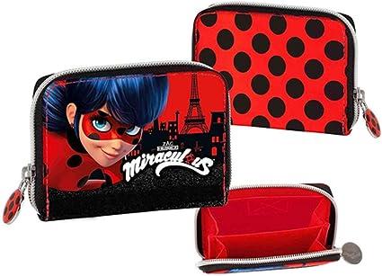 Ladybug Miraculous - Monedero de piel sintética + colgante + bolígrafo con purpurina: Amazon.es: Oficina y papelería