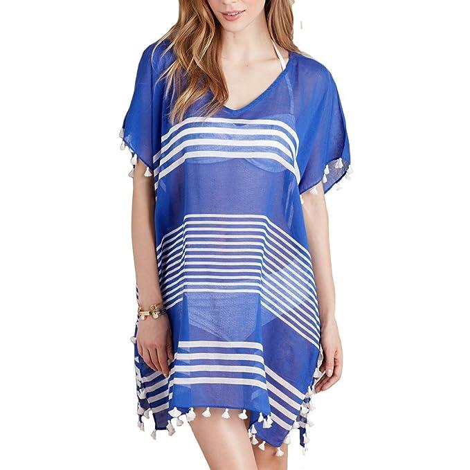 3a72c2683e1c5 SUDILO Women's Chiffon Swimwear Cover-ups Printed Stripe Swim Bikini Beach  Wear Swimsuit Cover up