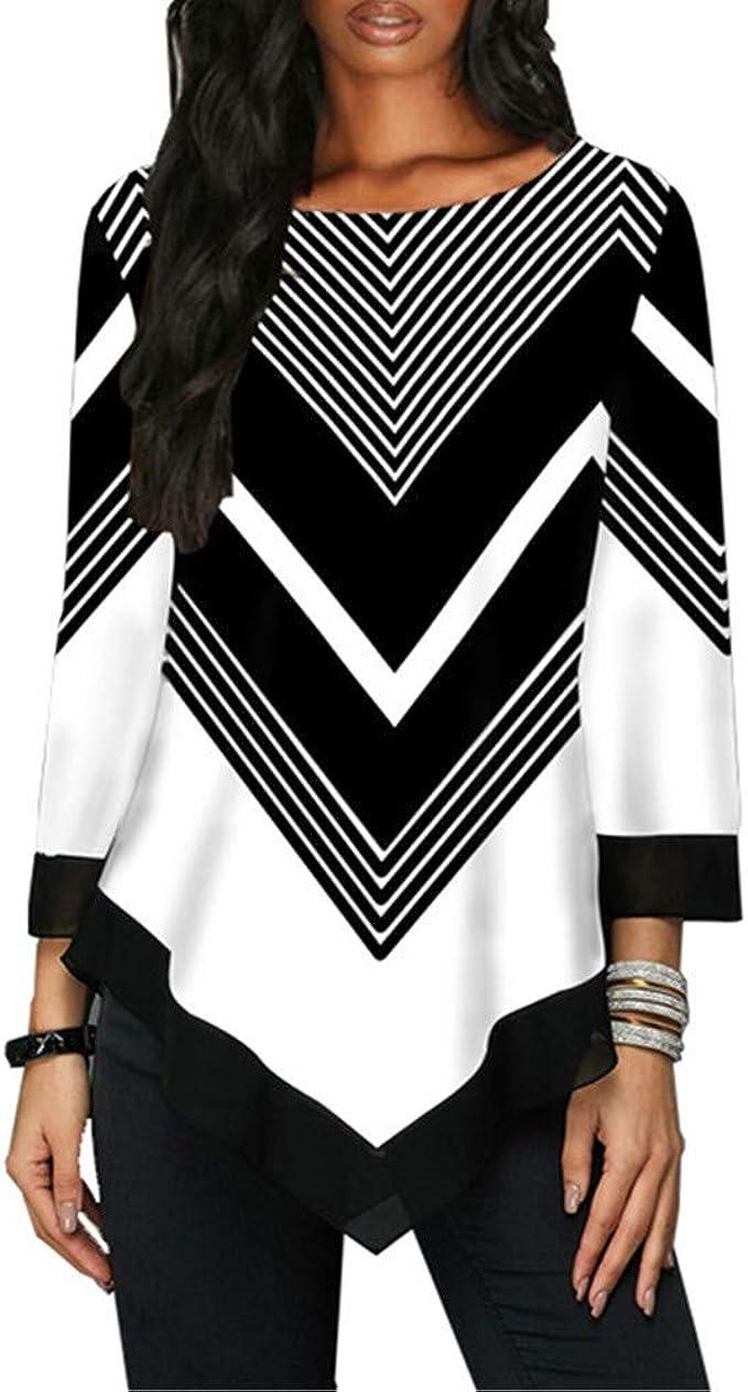 Camiseta de manga larga para mujer, diseño casual a rayas ...