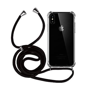 MyGadget Funda Transparente con Cordón para Apple iPhone X/XS - Carcasa Cuerda y Esquinas Reforzadas en Silicona TPU - Case y Correa - Negro