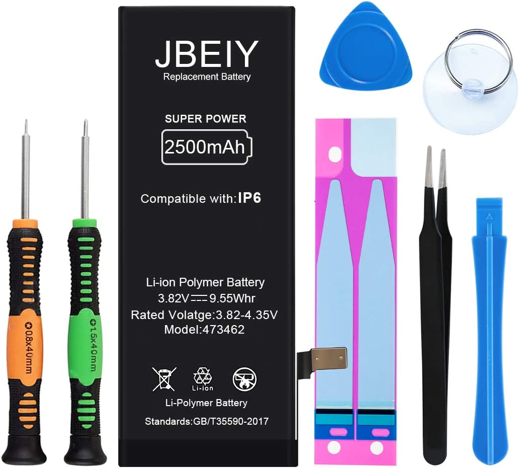 JBEIY New 2500mAh Battery for iPhone 6, Super High Capacity Internal Battery Replacement 0 Cycle, with Complete Professional Tool Kit and Instructions -1 Year Warrant