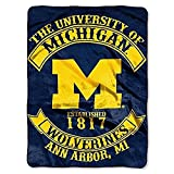 Northwest NOR-1COL080200021RET 60 x 80 Michigan Wolverines NCAA Rebel Series Royal Plush Raschel Blanket
