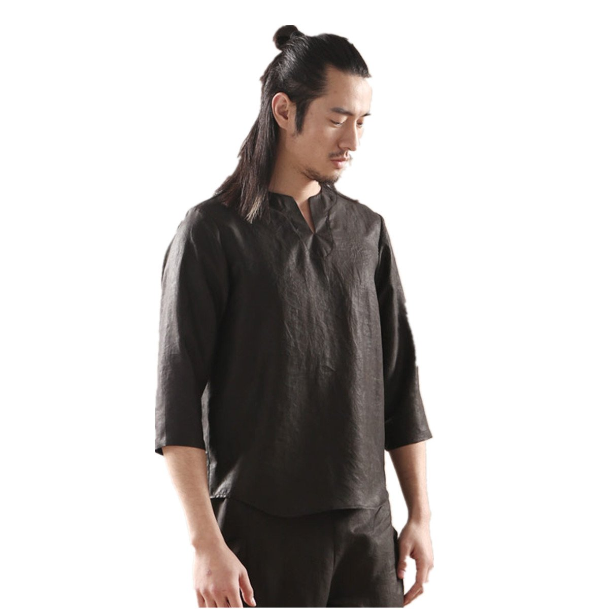 WEISAN Mens Keroa Traditional Mulberry Silk Shirts Buddha Costume Short Sleeve