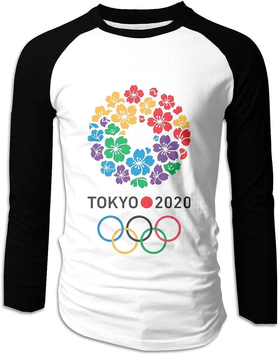 HRSHEN Fashion Tokyo Olympic Games Cotton Baseball T Shirts for Boyfriend Black