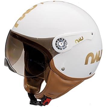 Nau Fashion Luxe – Casco moto casco – Casco Jet – Blanco Brillante