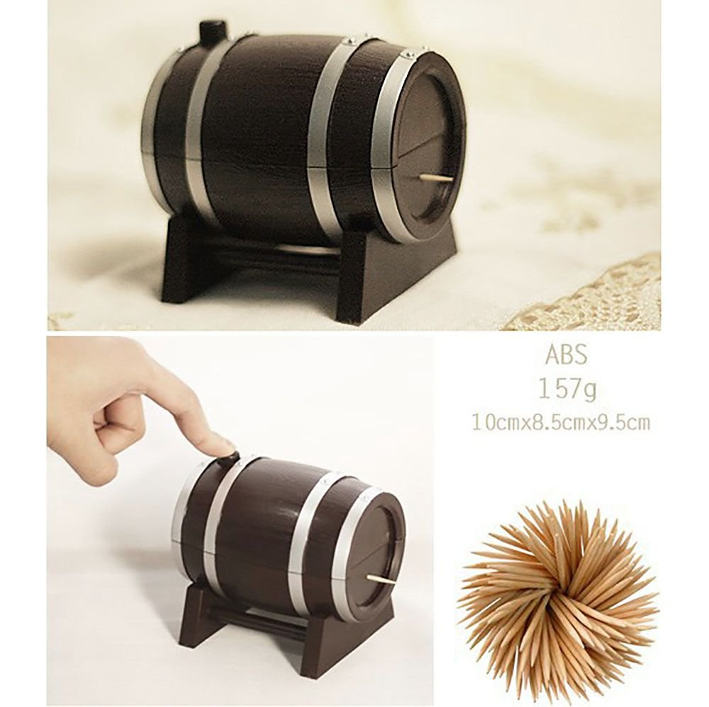 Huayang|Creative Automatic Wine Barrel-Shaped Toothpick Holder Plastic Box Container Hot HuaYangcaca