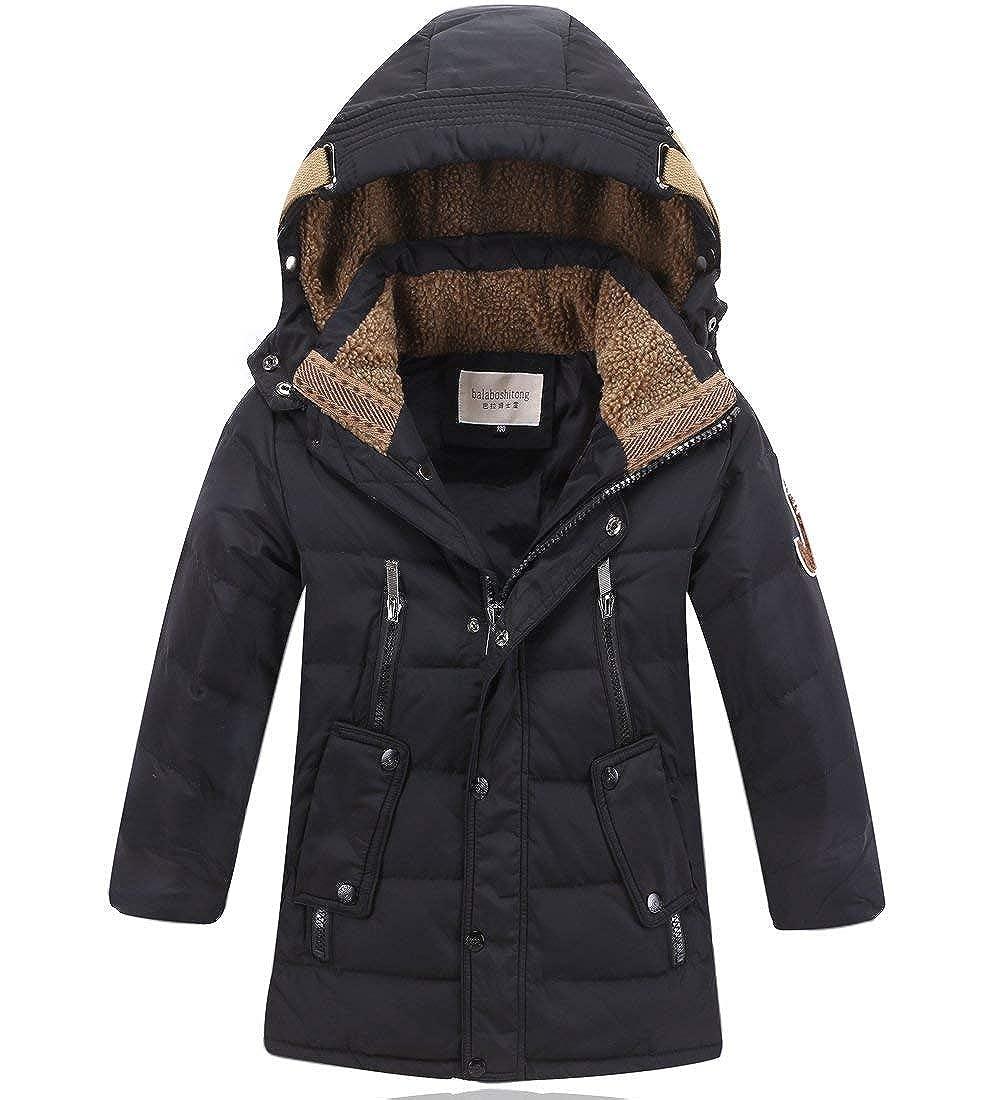 DNggAND Big Boys' Winter Hooded Down Coat Puffer Jacket Mid Long Parka Coats,5 14 Years