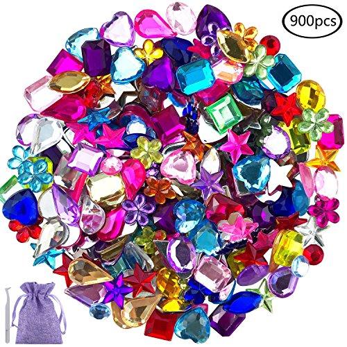 JPSOR 900 Pcs Gems Acrylic Flatback Rhinestones Gemstone Embellishments, 9 Shapes, 6-13mm, with Tweezers and Bag