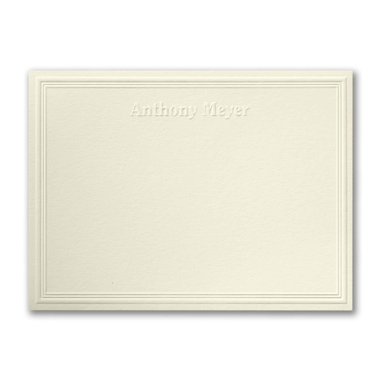 1200pk Triple Embossed - Note Card - Embossed - Ecru-Note Cards