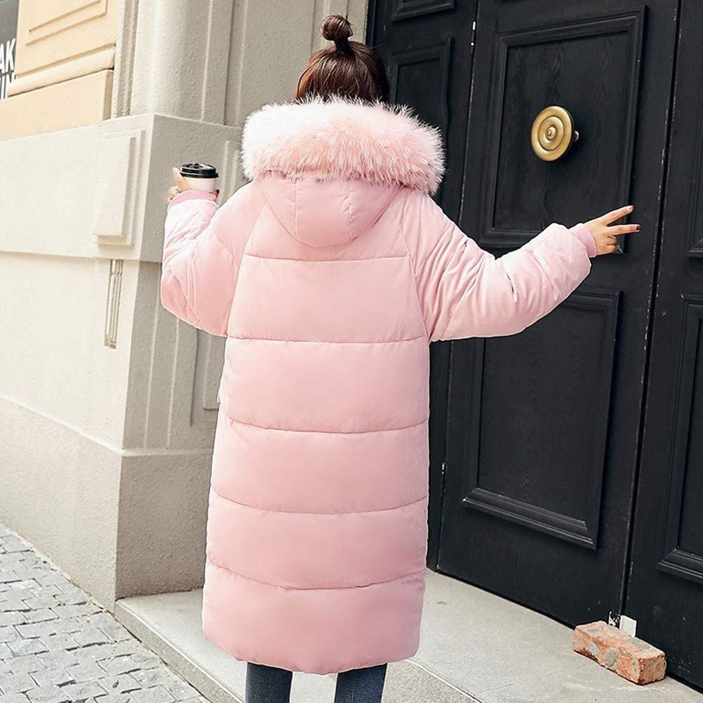 Giacca Invernale da Piumino Lungo Donna Cappotto Invernale Capispalla Mode di Marca Cappotto Invernale Caldo da Donna Cappotto Solido Casual Invernale Spesso Rosa