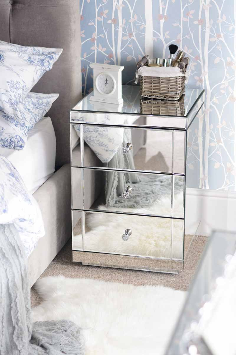 MY-Furniture Mirrored Bedroom Furniture Package, 3 Draw Low Chest ...
