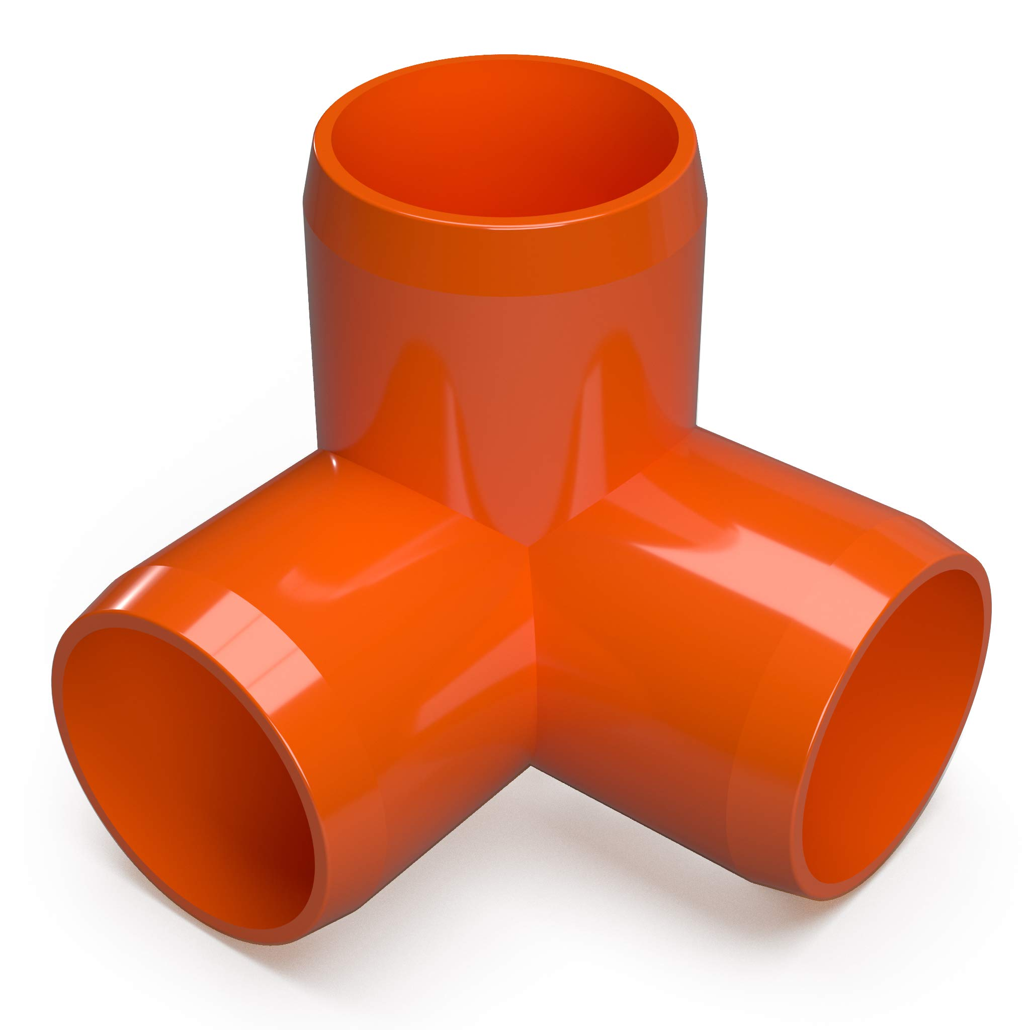 FORMUFIT F1143WE-OR-4 3-Way Elbow PVC Fitting, Furniture Grade, 1-1/4'' Size, Orange (Pack of 4)