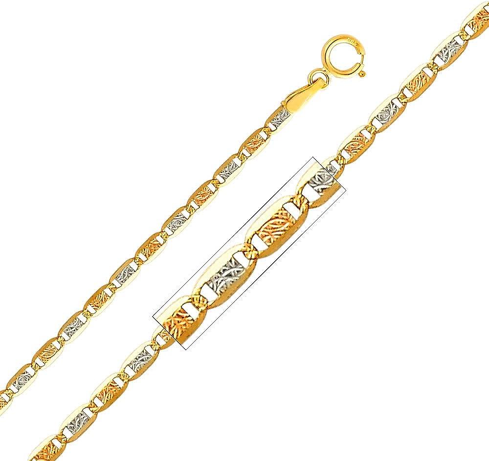 Precious Stars 14k Tri-Tone Gold 2.1-mm Diamond-Cut Valentino Chain Necklace