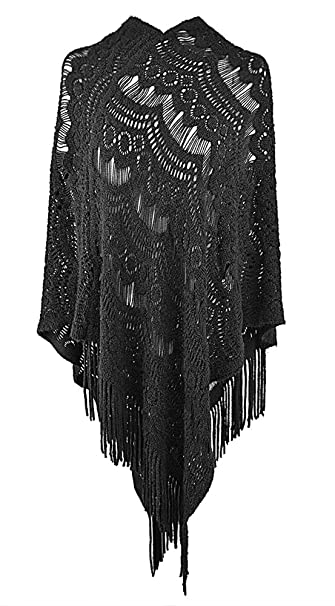 7cdcc5182ad QZUnique Women's Sweater Cape Pullover Knitted Shawl Tassels Knit  Poncho-Like Wrap