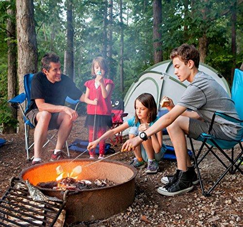 "CampSpark 34"" Telescoping Marshmallow Roasting Sticks - Set of 4 Skewers - Smores Sticks Hot Dog Sticks - BONUS Bag & Recipes Ebook - Quality Camping Equipment - Camping Cookware - Super Safe for Kids"