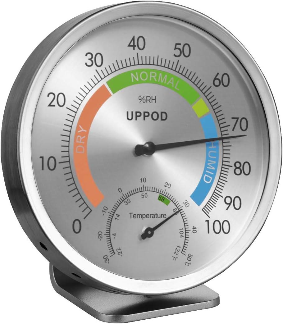 "LittleGood 5"" Indoor Outdoor Hygrometer/Thermometer, Humidity Gauge Indicator Temperature Humidity Monitor, Analog Hygrometer Humidor (English Version)"