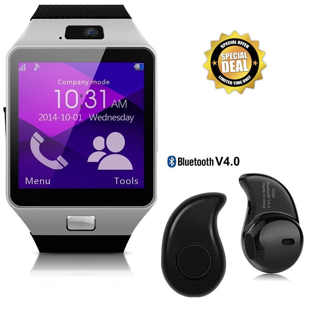 Raptasco Smart Watch With Sim Memory Card Slot Camera With S530 Bluetooth Headset For All Android Devices Multi Color Amazon In Computers Accessories