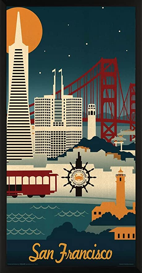 e108a76d999 Image Unavailable. Image not available for. Color  Lantern Press San  Francisco California Retro Skyline Illustrated Decorative Travel City Art  Print ...
