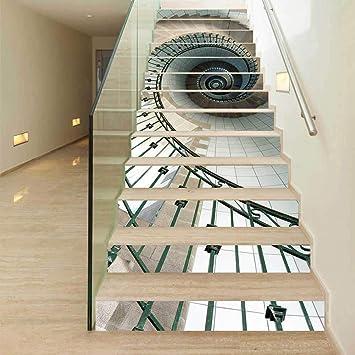 YUEER Patrón de Moda 3D Azulejo de la Pared Escaleras ...