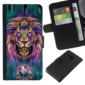For HTC One M9 Case , Hippie Third Eye Zen Alternative King - la tarjeta de Crédito Slots PU Funda de cuero Monedero caso cubierta de piel