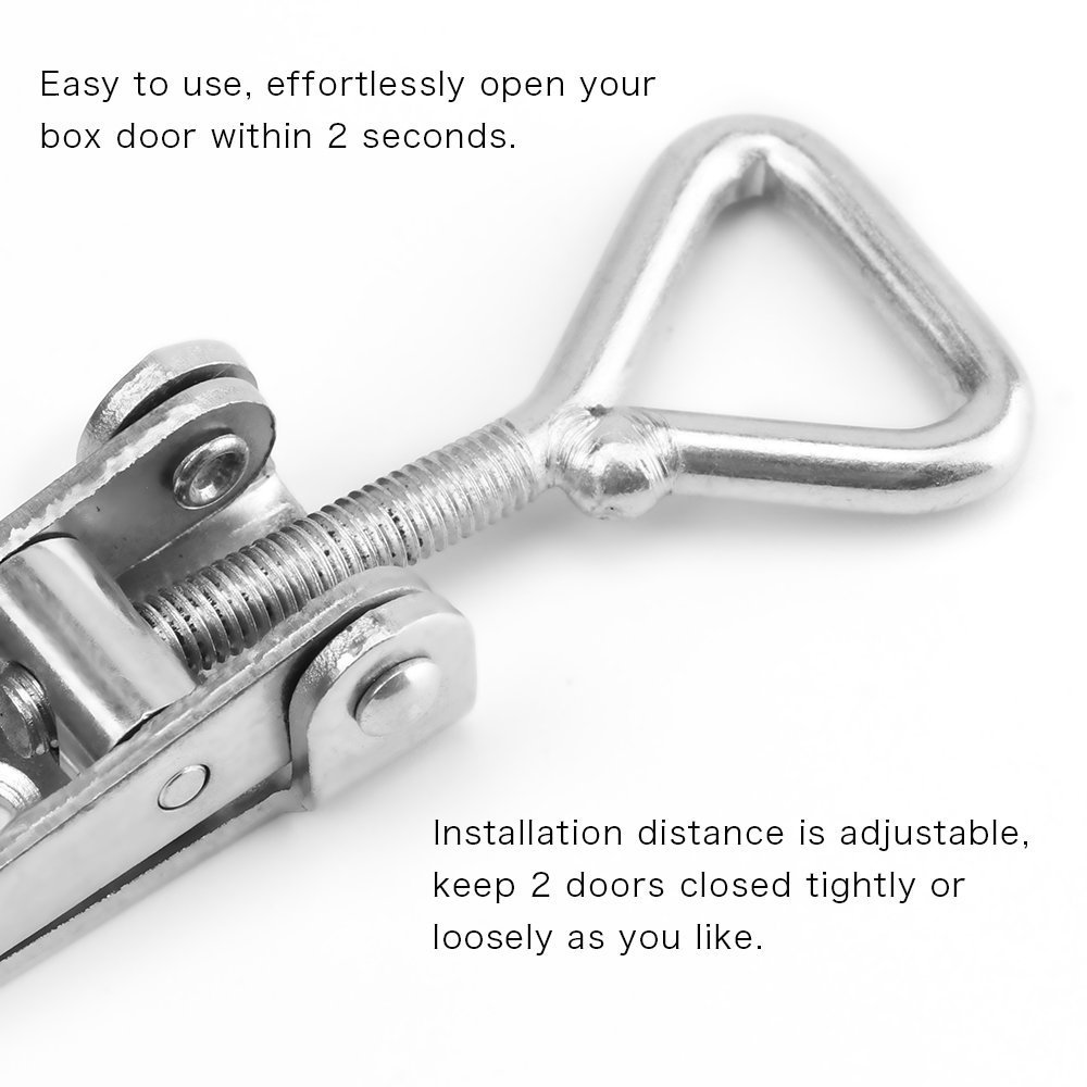 S TOOGOO 4-Pack Pull Latch-Metal Adjustable Door Cabinet Box Case Toggle Latch Hasps 360 Lbs Capacity