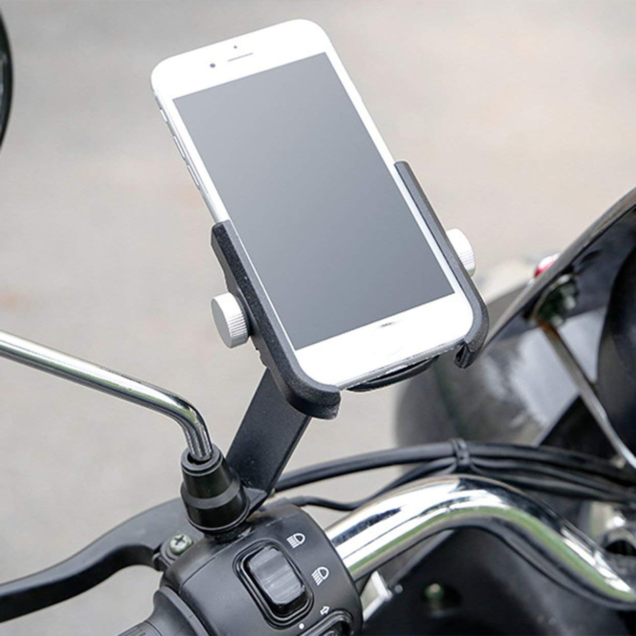 Aluminum Alloy Bike Motorcycle Handlebar Mount Phone Holder 360 Degree Rotating Universal Phone Holder Clip