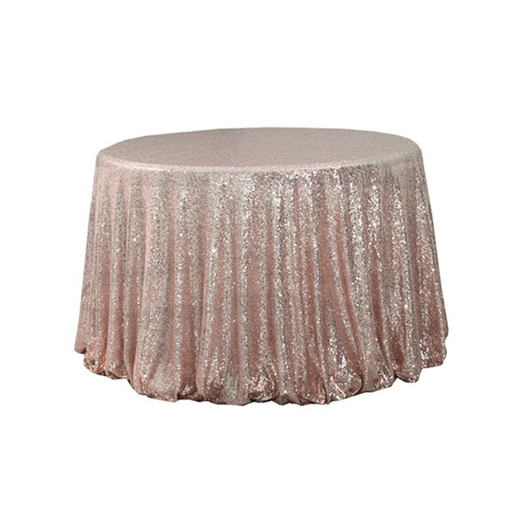 120'' Round Sparkly Rose Gold Sequin Table Cloth Sequin Table Cloth, Cake Sequin Tablecloths, Sequin Linens for Wedding