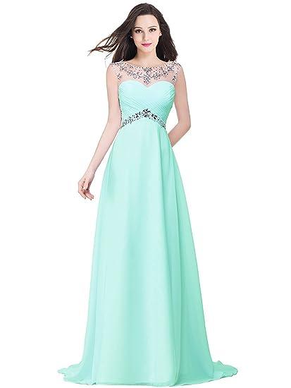 c873f3766d4 MisShow Damen Elegant Ärmellos Abendkleider Abschlusskleid Chiffon Ballkleider  Lang Strass Gr.32-46  Amazon.de  Bekleidung