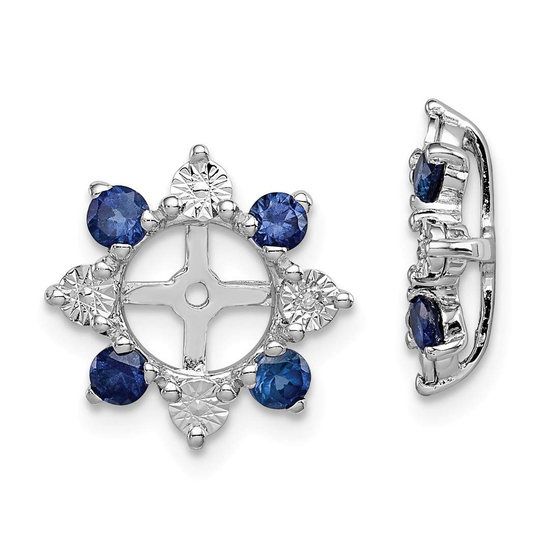 925 Sterling Silver Diamond Created Sapphire Earrings Jacket Birthstone September Fine Jewelry Gifts For Women For Her