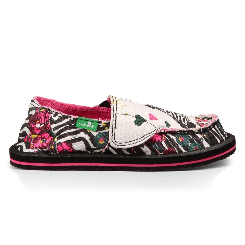 Sanuk Kids Scribble LL Girls Sidewalk Surfer Shoe (Toddler/Little Kid/Big Kid), Zebra Floral, 10 M US Toddler